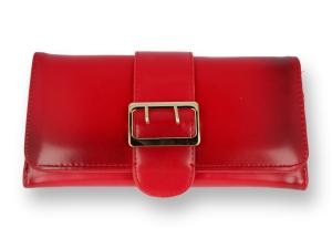 f4b1c4312810f Portfel damski z klamrą cieniowany czerwony
