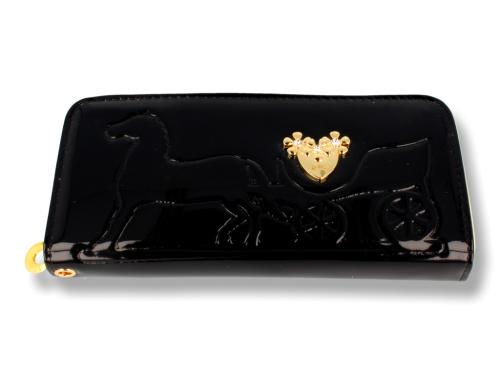 d75d8346bf846 Czarny lakierowany duży damski portfel Sklep PINK BOX