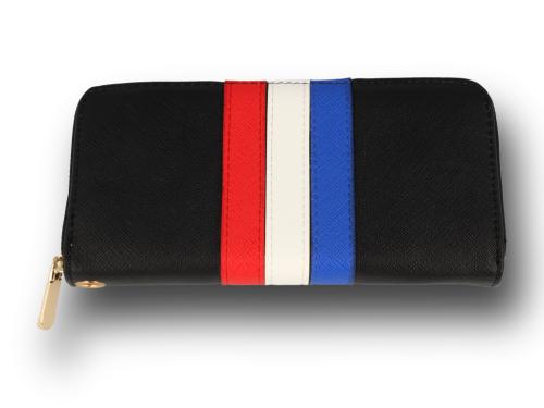 d88d2121fb881 Portfel damski czarny z kolorowymi paskami Sklep PINK BOX
