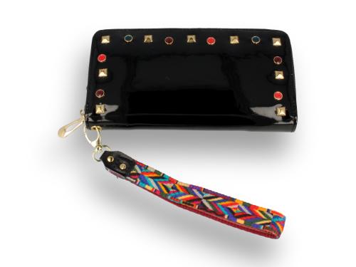 3883d7503d4b6 Portfel damski lakierowany czarny z paskiem azteckim Sklep PINK BOX